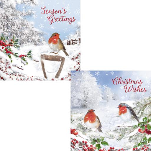 Luxury Christmas Card Pack - Christmas Robins