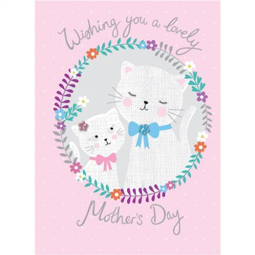 Mother's Day Card - Cats In Flowers