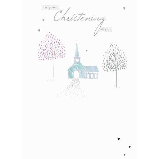 Christening Card - Church & Trees