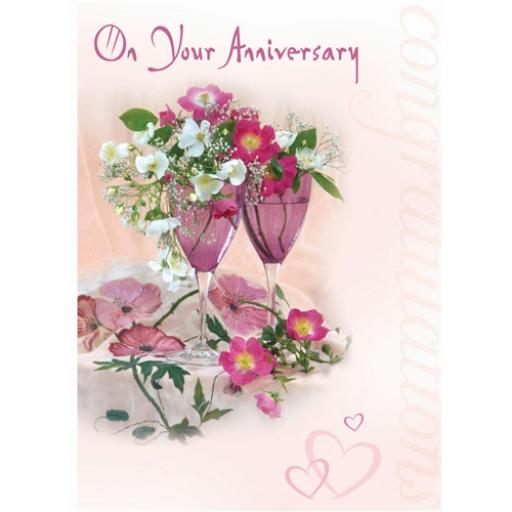 Anniversary Card - Glasses & Flowers (Your)