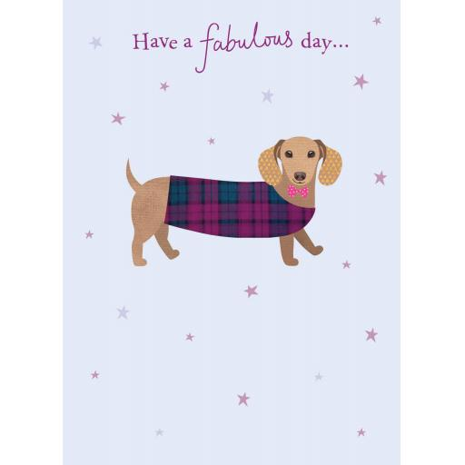 Pom Poms Card Collection - Fabulous Sausage Dog