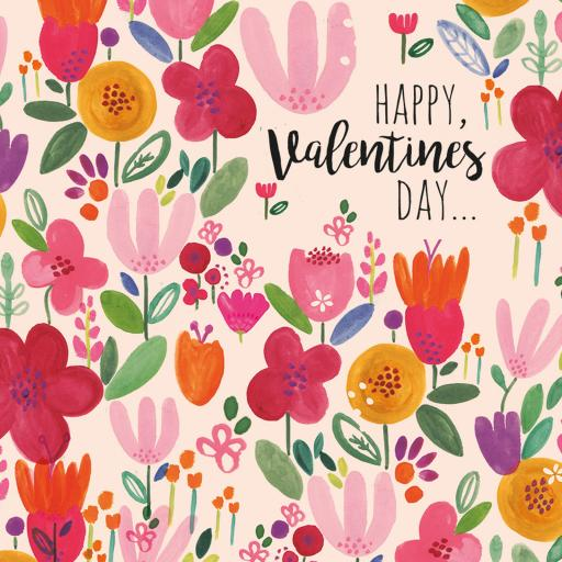 Valentines Day Card - Rosie Flowers (Open)