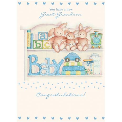 New Baby Card - Bunnies For Him (Great-Grandson)