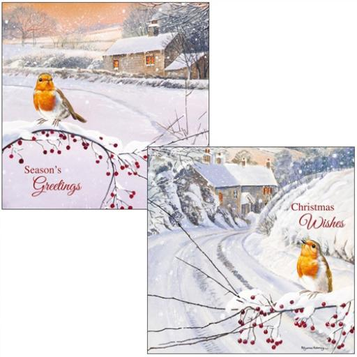 Luxury Christmas Card Pack - Sunset Robins