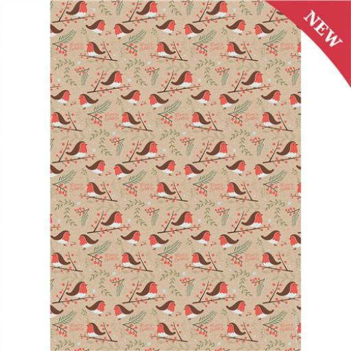 Christmas Wrap & Tags - Christmas Robins