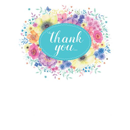 Thank You Card - Floral Circle & Bow