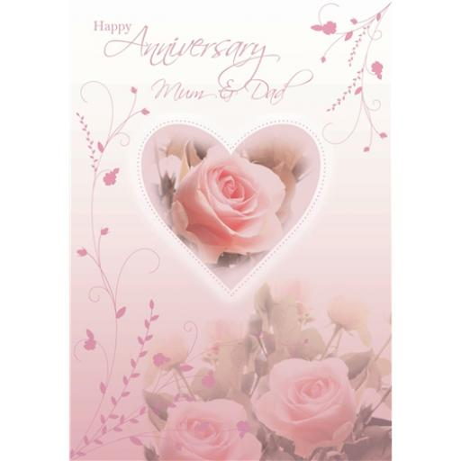 Anniversary Card - Pink Roses (Mum & Dad)