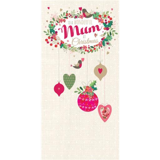 Christmas Card (Single) - Mum 'Bauble Wreath'
