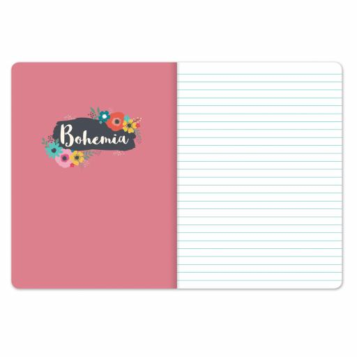 Bohemia Stationery - Plastic Cover Notebook - Flowers
