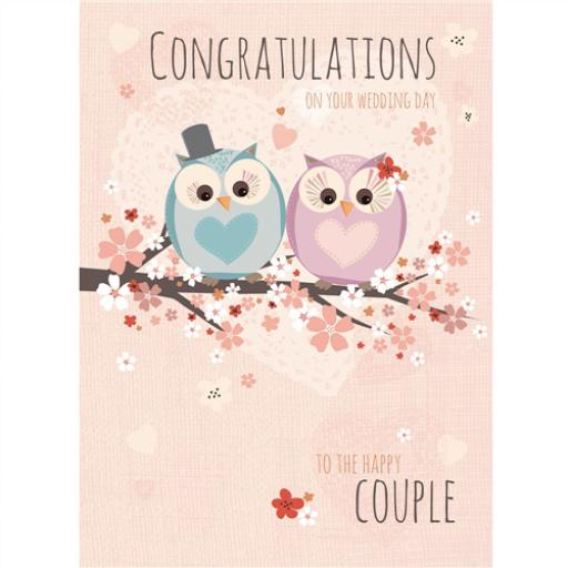 Wedding Card - Owls On Branch