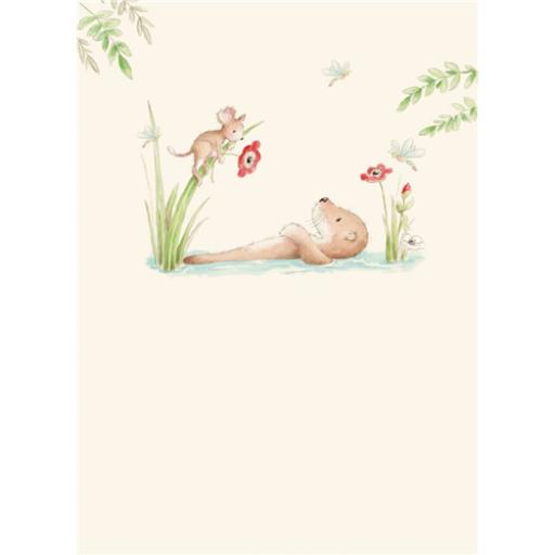 Friends From Bluebell Wood Card - Relaxing Otter