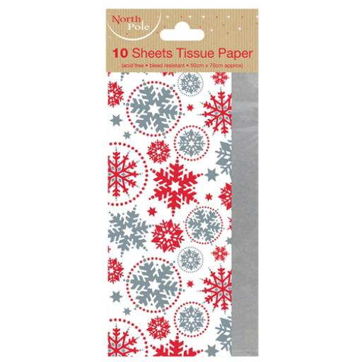 Christmas Tissue Pack - Snowflake & Silver