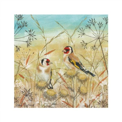 Enchanted Wildlife Card - Goldfinches