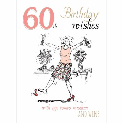 Young At Heart Card - 60 Female Wisdom & Wine