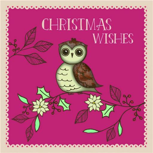 Charity Christmas Card Pack - Owl & Berries