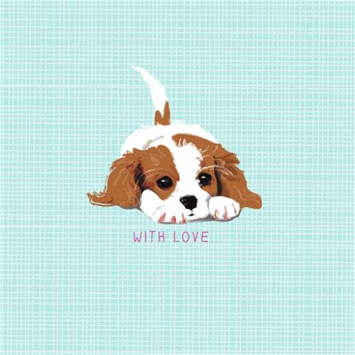 Dogs Trust Waggy Tails Card - Little Cavalier King Charles
