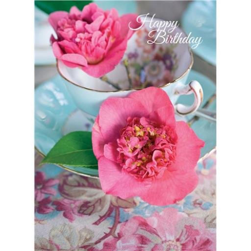 Floral Birthday Card - Pink Flowers In A Cup & Saucer