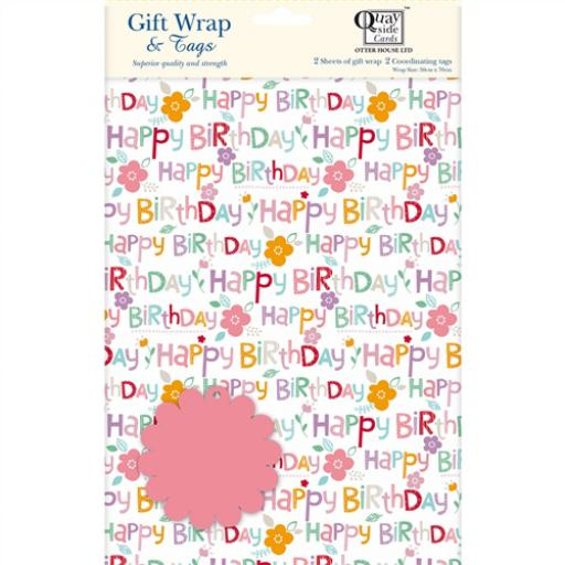 Gift Wrap & Tags - Happy Birthday Text