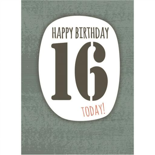 Age To Celebrate Card - 16 Text