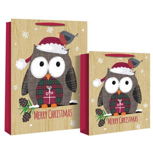 Christmas Gift Bags (Medium) - Christmas Kraft Owl