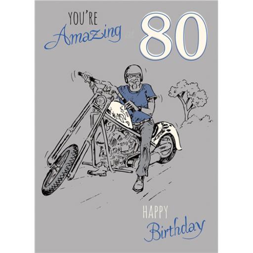 Young At Heart Card - 80 Male - Biking Fun