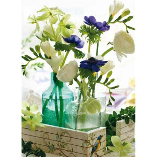 Beautiful Blanks Card - Flowers In Glass Bottles
