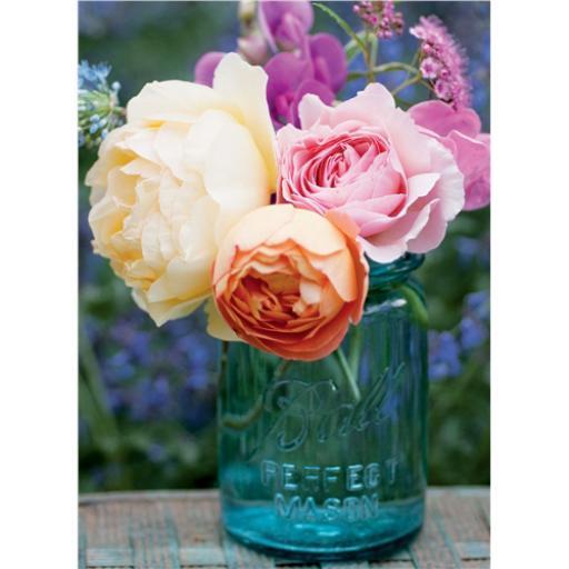 Beautiful Blanks Card - Roses In Blue Mason Jar