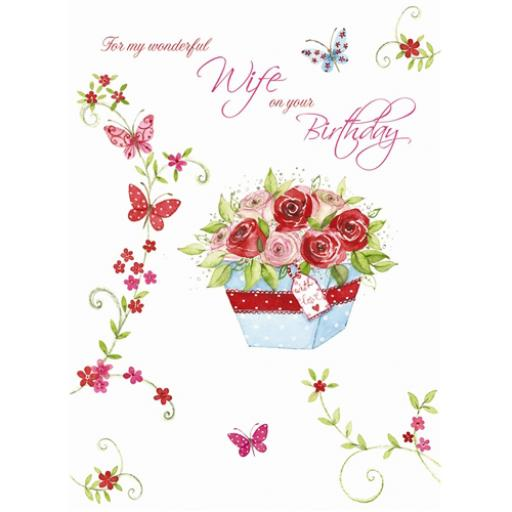 Family Circle Card - Roses & Butterflies (Wife)