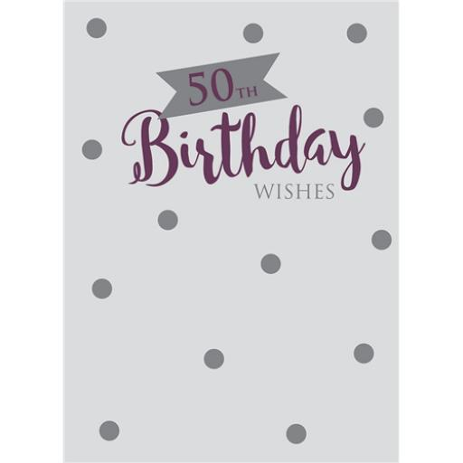 Age To Celebrate Card - 50 Silver Text & Spots