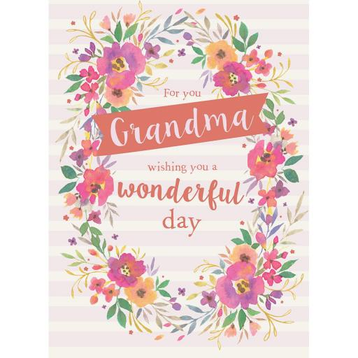 Family Circle Card - Floral Wreath (Grandma)