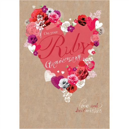 Anniversary Card - Hearts & Roses (Your Ruby Anniversary)