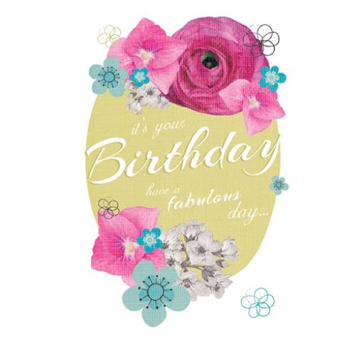 Dinkies Mini Card - Floral Birthday