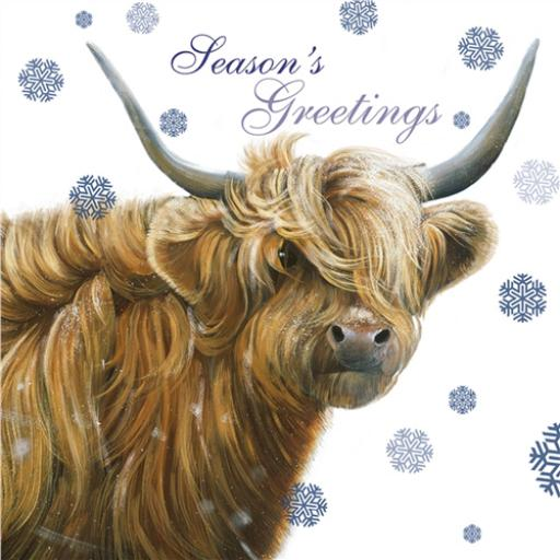 Charity Christmas Card Pack - Highland Cow