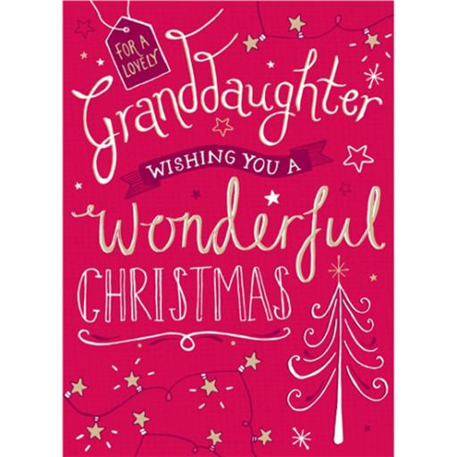 Christmas Card (Single) - Granddaughter 'Christmas Tree & Handwritten Text'