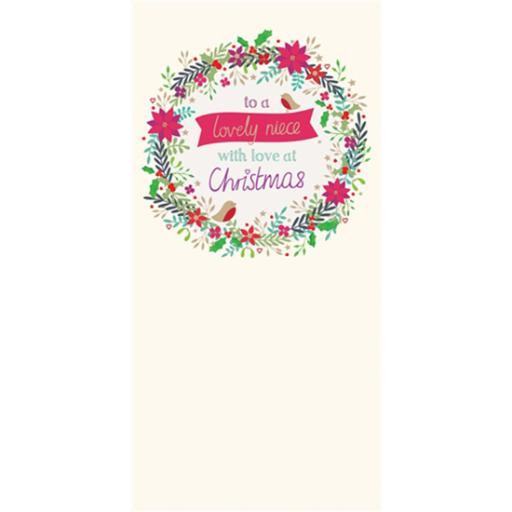 Christmas Card (Single) - Niece 'Little Floral Wreath & Robins'
