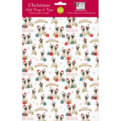 Christmas Wrap & Tags - Festive Party Pugs