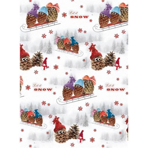 Christmas Wrap & Tags - Pine Cone Snowmen