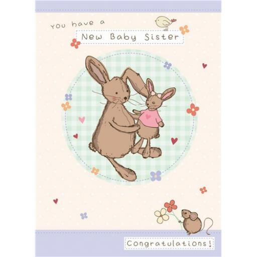 New Baby Card - Bunny (Baby Sister)