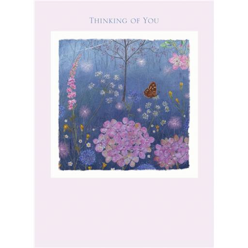 Thinking Of You Card - Flower Butterflies & Text