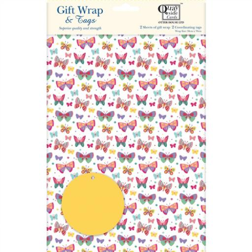 Gift Wrap & Tags - Rainbow Butterflies