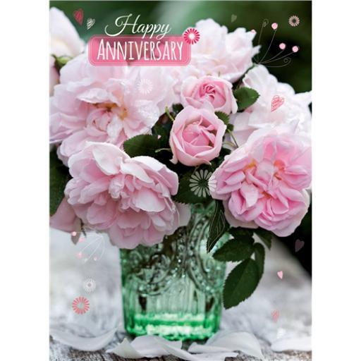 Anniversary Card - Peonies (Open)