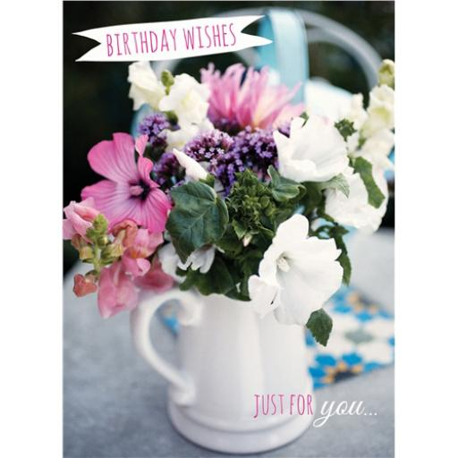 Floral Birthday Card - White Floral Jug