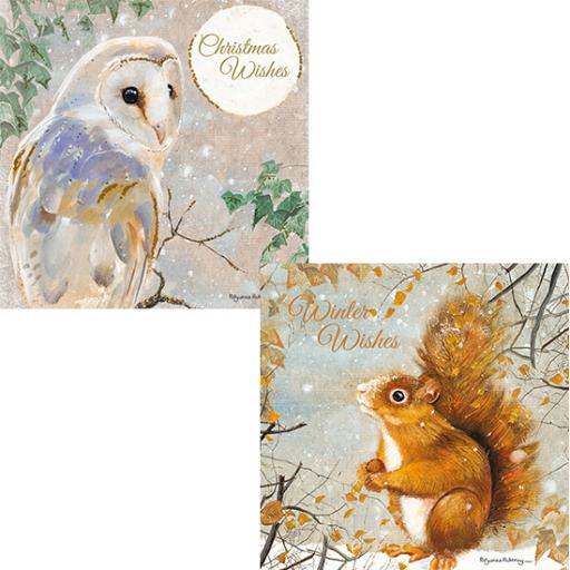 RSPB Luxury Christmas Card Pack - Snowy Foraging