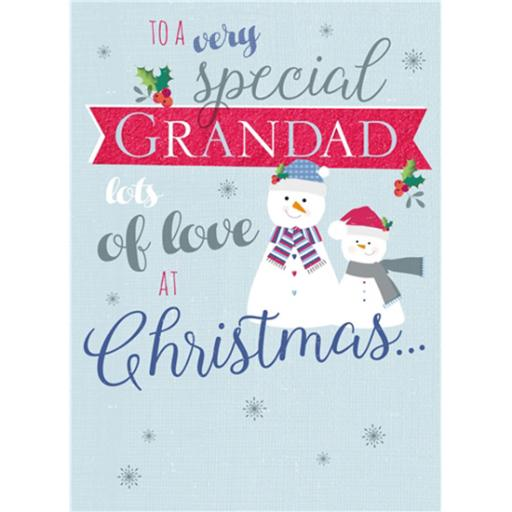Christmas Card (Single) - Granddad 'Snowmen & Text'