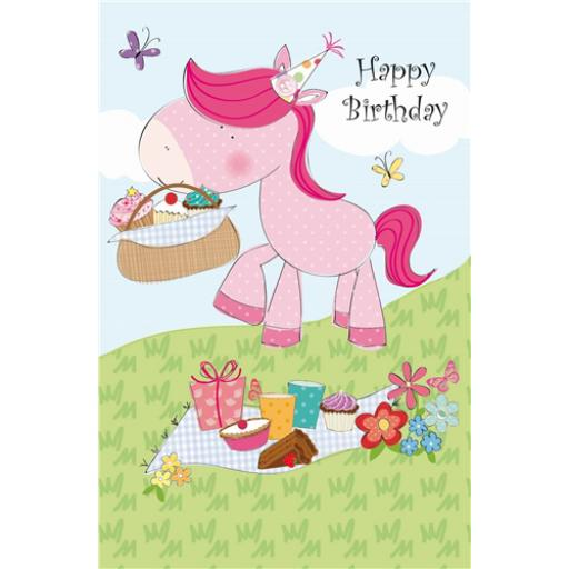 Sugar & Mice Card - Pink Horse