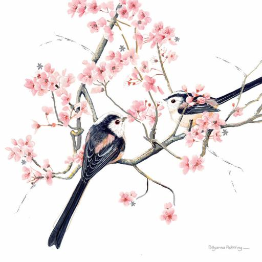 Pollyanna Pickering Countryside Collection Card - Long Tailed Tits On Blossom