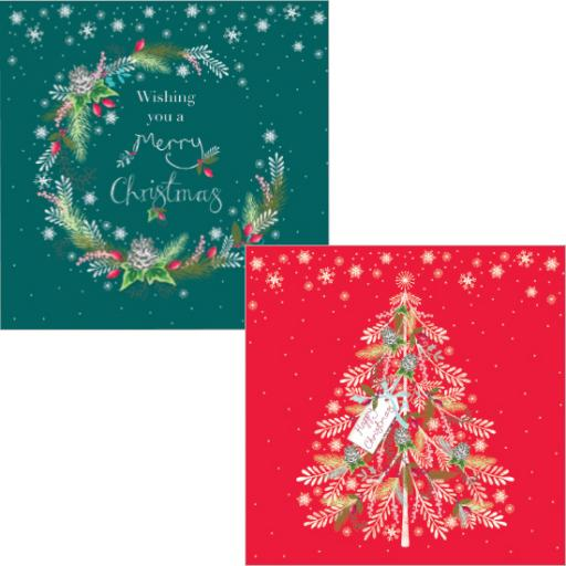 Luxury Christmas Card Pack - Wreaths & Trees