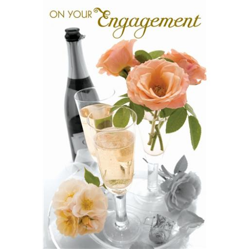 Engagement Card - Champers & Roses