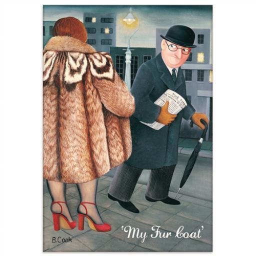 Beryl Cook Magnet - My Fur Coat