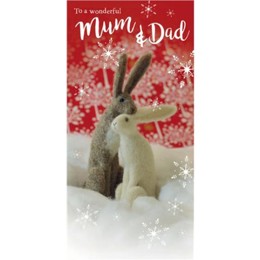 Christmas Card (Single) - Mum & Dad 'Felt Hares In The Snow'